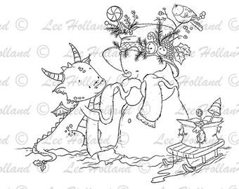 Dragon with snowman , digital stamp, card Making, Stamp, Digi, Cute Digital Stamp, colouring