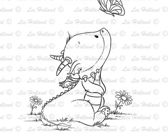 Dragon looking at a butterfly, Card Making, Digi, Digital Stamp, Stamp