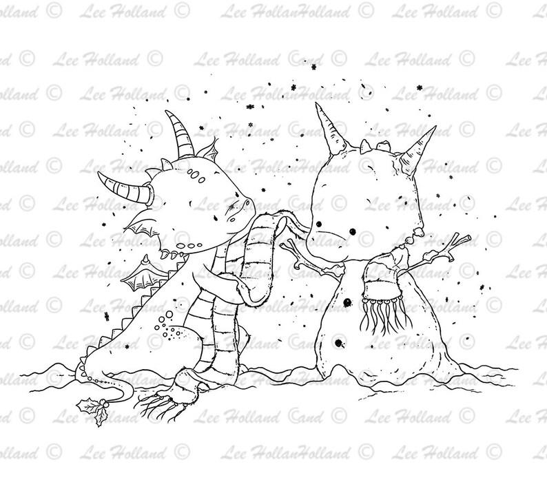 Digital Stamp Dragon Building a snowman Card making Digi image 0