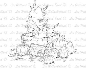 Dragon with fall decor, Digital stamp Card Making, Digi, Stamp