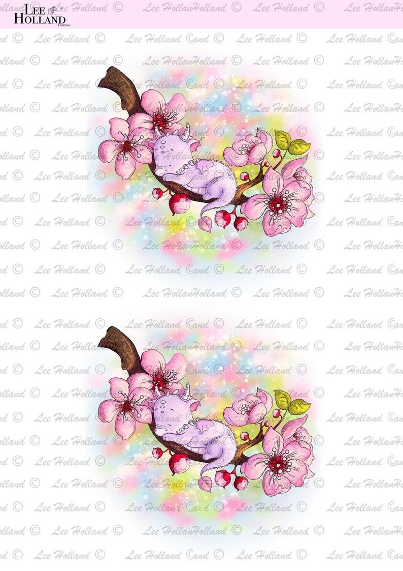 Art printable Sleeping Blossom Dragon Printable Card Making Printable art Scrapbooking