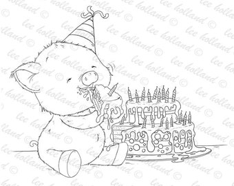 Piglet enjoying some cake