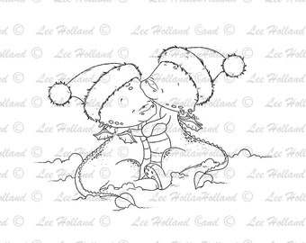 Dragons Christmas Couple,  Candy Cane, card Making, Stamp, Digi, Cute Digital Stamp