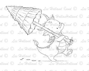 Dragon carrying Christmas tree, Digital stamp. Card Making, Digi, PaperCraft