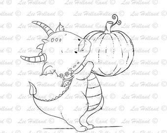 Dragon holding pumpkin, Digital stamp Card Making, Digi, Stamp