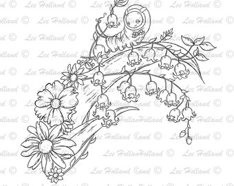 Caterpillar on Lilly of the valley, digital stamp, Card making, Digi, Stamp,