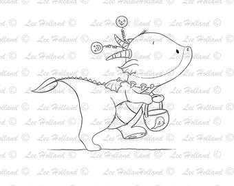 Dragon with halloween treat bucket , Digital stamp Card Making, Digi, Stamp