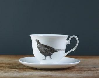 Pleasant Pheasant Fine Bone China Teacup and Saucer