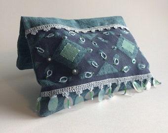 Blue Clutch Purse/_White Polka Dots/_South Africa/_Treasure