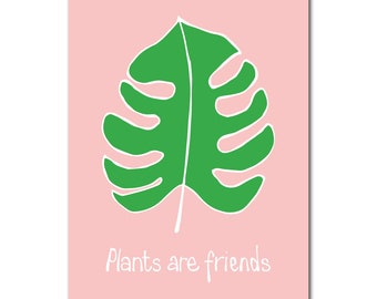 Plants are friends | Monstera | Postcard | Illustrated | Botanical