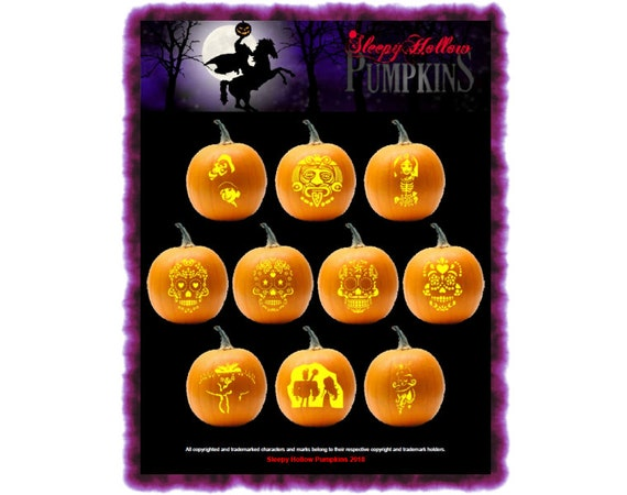 Dia De Los Muertos Pumpkin Carving Patterns  Printable PDF