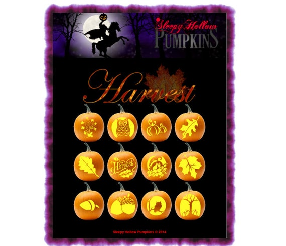 Harvest Pumpkin Carving Patterns  Printable PDF