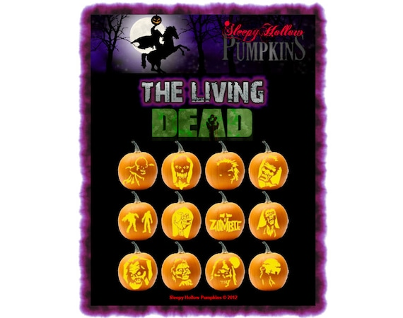 The Living Dead Pumpkin Carving Patterns  Printable PDF