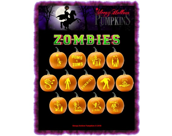 Z-O-M-B-I-E-S Pumpkin Carving Patterns  Printable PDF