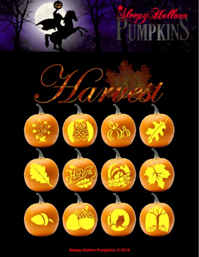 Harvest pumpkin carving patterns printable pdf etsy