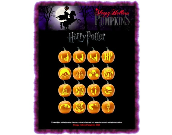 Harry Potter Pumpkin Carving Patterns  Printable PDF