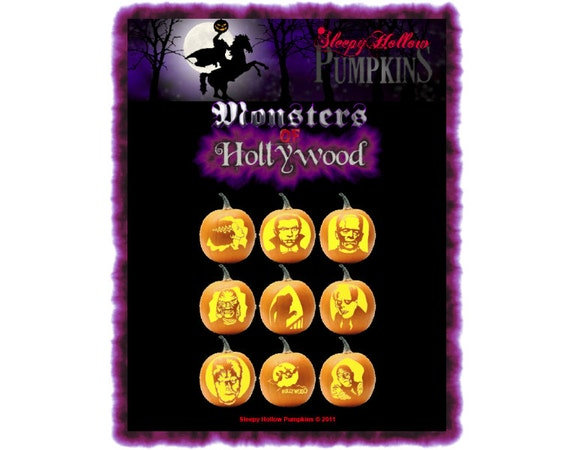 Monsters of Hollywood Pumpkin Carving Patterns  Printable PDF