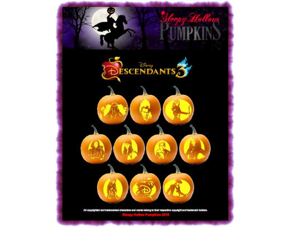 Descendants 3 Pumpkin Carving Patterns  Printable PDF