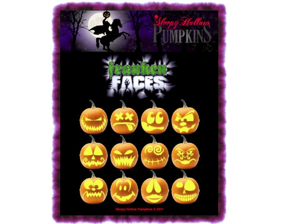 Franken-Faces Pumpkin Carving Patterns  Printable PDF