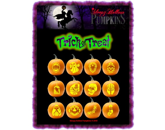 Trick or Treat Pumpkin Carving Patterns  Printable PDF