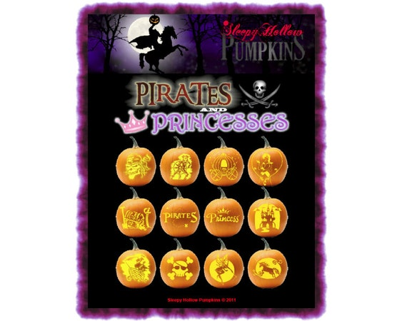 Pirates and Princesses Pumpkin Carving Patterns  Printable