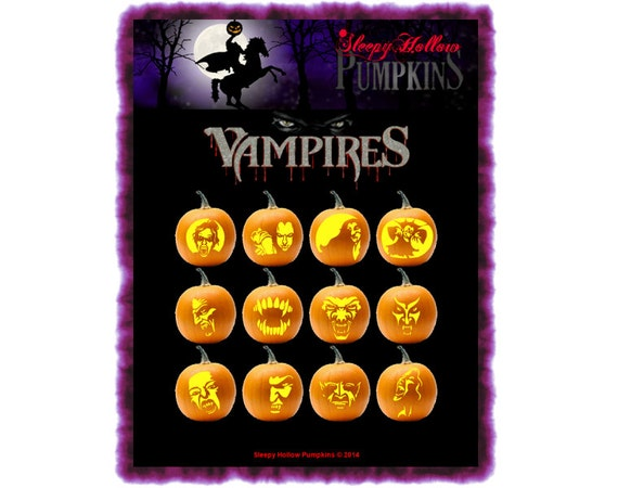 Vampire Pumpkin Carving Patterns  Printable PDF