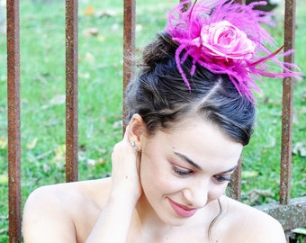 Great Gatsby Hairpiece -Great Gatsby Headpiece- Roaring 20s Hair Piece - Pink Flapper Headpiece - Glitter Flower French Barrette for Her