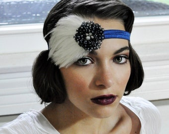 Navy Flapper Headband - Flapper Headpiece - The Great Gatsby Headband -1920s Hair Band for Women -1930s Fashion for Women with White Feather