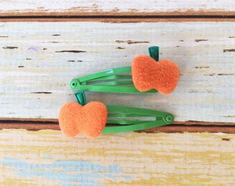 Pumpkin Patch Barrettes - Clips for Thanksgiving Outfit - Halloween Hair Clips - Baby Girl Barrettes - Small Hair Clips - Snap Clip Set
