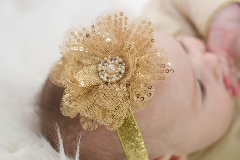 Gold Glitter Head Band -Christmas Headband Sparkly Headband Headband for Babies Headbands for Girls Flower Headbands Gold Headband