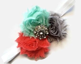 Headbands for Babies - Rhinestone and Flower Headband for Girl - Flower Headpiece - Easter Headband - Girls Headband with Flowers -