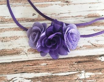 Baby Girl Headbands - Newborn Headbands - Baby Headband Bow - Purple Flower Headband - Flower Crown Headband - Floral Headband Photo Prop -