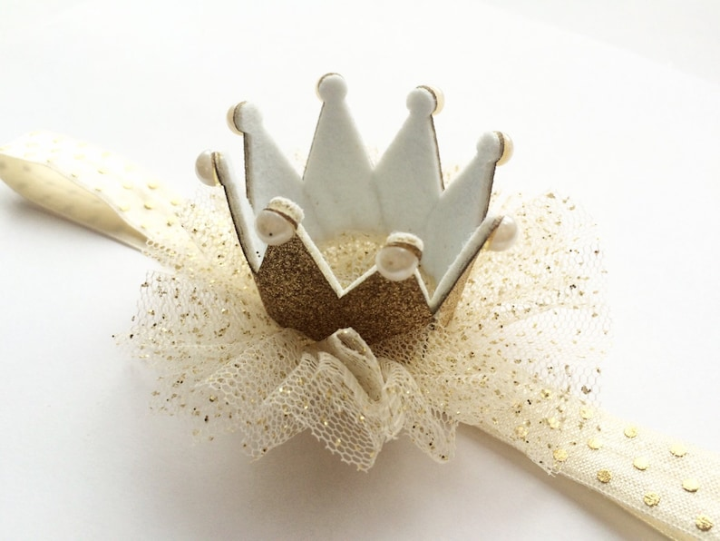Gold and Pearl Crown Gold Sparkle Crown Headband Gold Glitter Crown