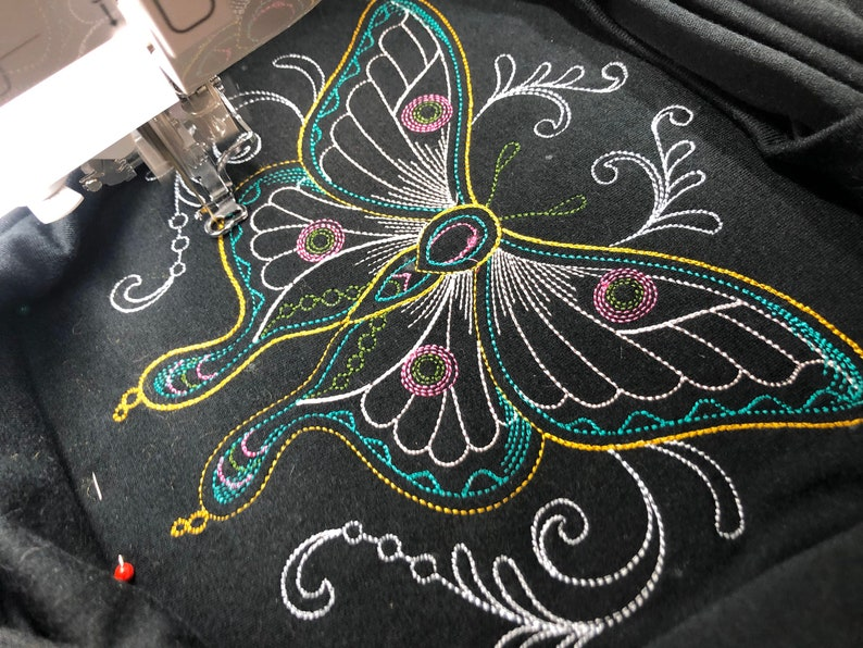 Modern ButterflyMoth T Shirt for Women Embroidered Tee