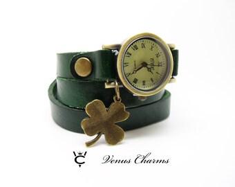 "Vintage Leather watch Bracelet Watch three laps wrist watch Wrap Watch ""Luck"""