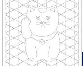 Daruma 1254 - Navy - Maneko Neko (Lucky Cat) Woven Bamboo - Sashiko Pre-printed Sampler - Navy