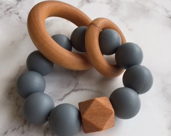 Gray Silicone and Wood Teether