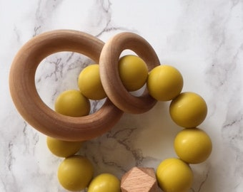 Mustard Silicone and Wood Teether