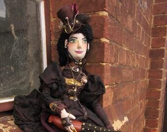 OOAk poseable cloth art doll Steampunk Lady, Helena