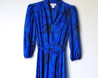 Vintage Dress Cobalt Blue & Black 80s Polyester Satin by T F