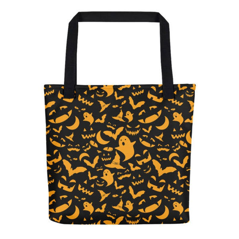 Orange and Black Halloween Pattern Trick or Treat Spooky Candy Tote Bag Costume Accessory Goth Gift