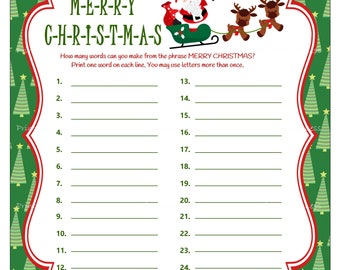 Christmas Word Game, Printable Christmas Party Game, Holiday Party Game, DIY Christmas Game, Merry Christmas Word Game - Printables 4 Less