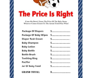 30 images of sports themed baby shower game price is right.