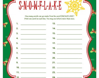 Christmas Game, Printable Christmas Party Game, Holiday Party Game, DIY Christmas Word Game, Snowflake Word Game - Printables 4 Less
