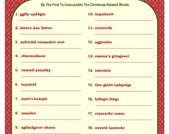 image relating to Printable Christmas Word Games referred to as Xmas sport Etsy