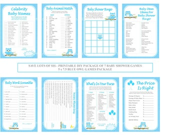Blue Owl Baby Shower Game Package Printable Themed Games Bingo