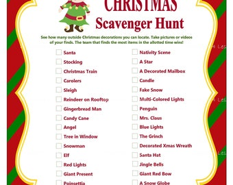 Christmas Scavenger Hunt, Printable Christmas Party Game, Holiday Party Game, Christmas Word Game, Christmas Group Game - Printables 4 Less