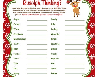 Finish My Phrase, Christmas Game, What's Rudolph Thinking, Christmas Party Game, Holiday Party Game, Christmas Word Game - Printables 4 Less