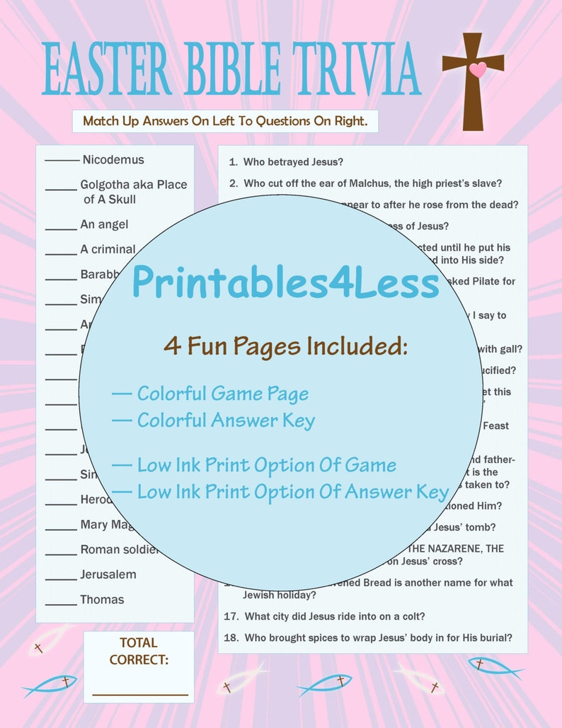 photo about Easter Trivia Printable referred to as Easter Bible Trivia, Printable Easter Video game, Printable Trivia Match, Ice Breaker Activity, Trivia Quiz, Do it yourself Celebration Trivia Video game - Printables 4 Significantly less