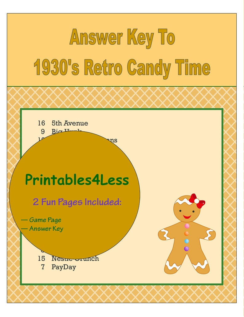 1930s Candy Game, Candy Trivia Game, Ice Breaker Game, Printable Trivia  Game, 1930s Party Game, Party Group Game - Printables 4 Less